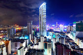 Hong Kong with crowded buildings at night — Foto de Stock