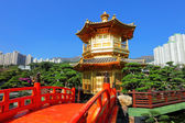 Gold pavilion in chinese garden — Stock Photo