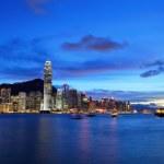 skyline di Hong kong di notte — Foto Stock