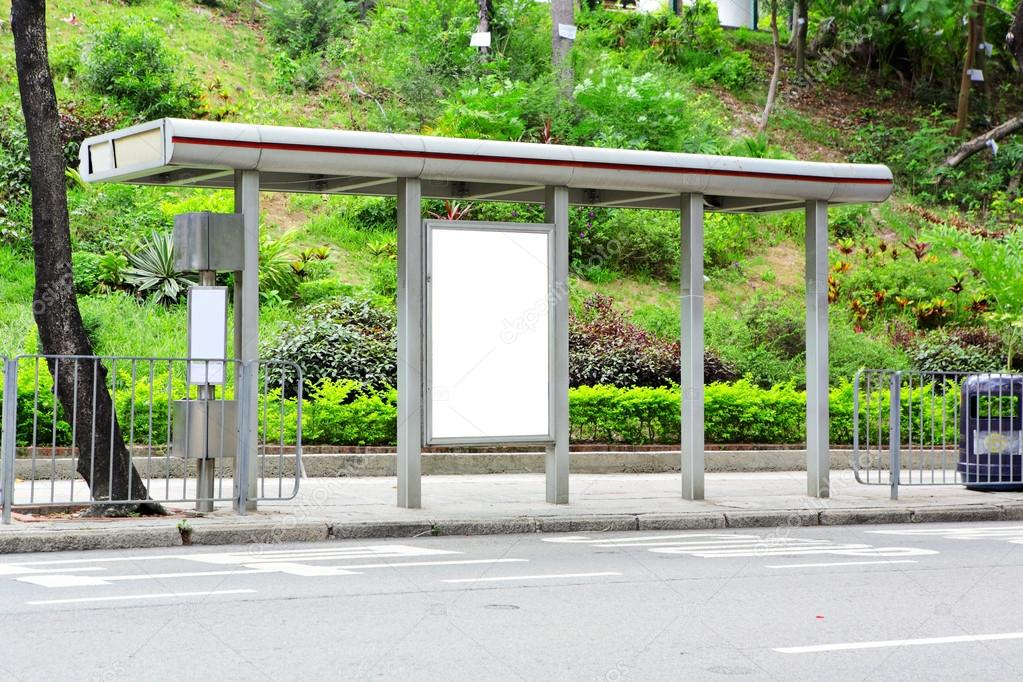 Blank advertising billboard on bus stop — Stock Photo #12883253