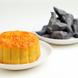 Moon cake with water caltrop — Stock Photo