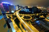Traffic in Hong Kong at night — Stockfoto