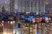 Apartment building in Hong Kong at night — Stock Photo