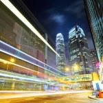 Hong Kong night view with car light — Stock Photo