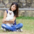 Girl with dog - Foto Stock