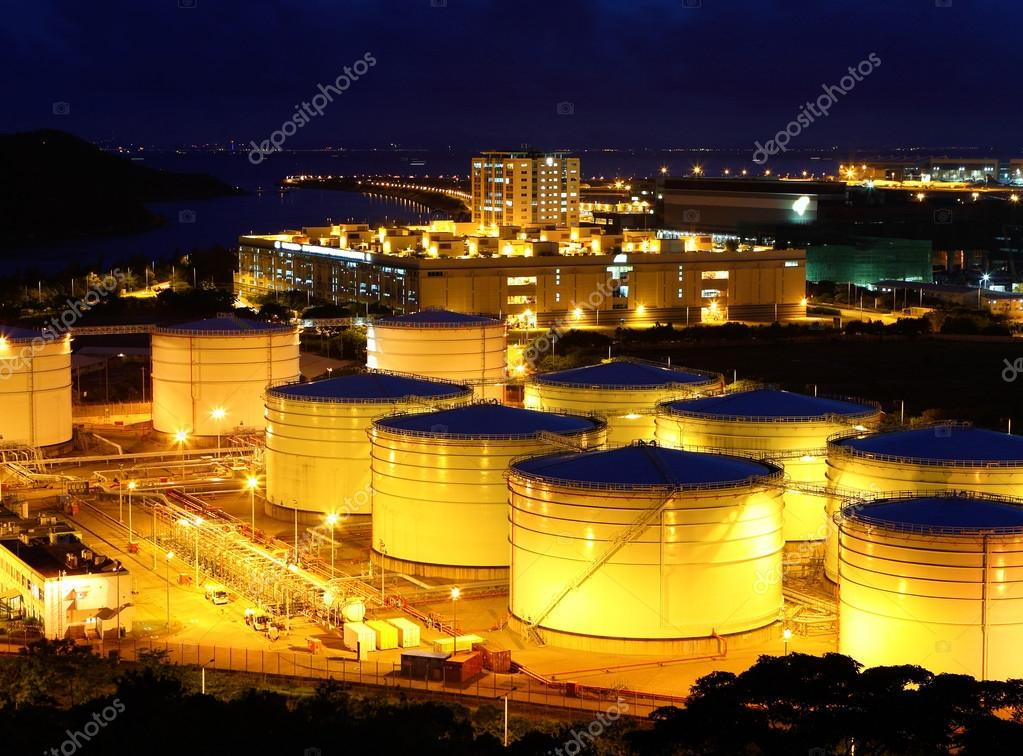 Oil tanks at night  Stock Photo #14217945