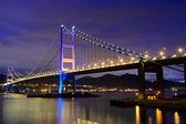 Night scene of Tsing Ma bridge — Stock Photo