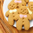 Gingerbread Man over Wood — Stock Photo
