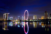 Singapore city skyline at night — Foto Stock