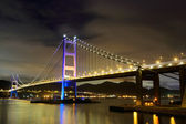 Tsing ma bridge at night — Stock Photo