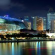 Singapore skyline night - 图库照片