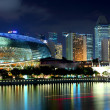 Singapore skyline night - Stock Photo