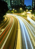 Traffic light trails at night — Stock Photo
