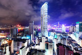 Hong Kong with crowded building at night — Stock Photo
