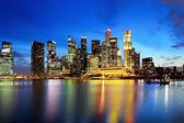 Singapur panorama v noci — Stock fotografie
