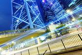 Urban city with car light — Stock Photo