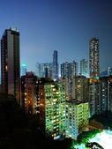 Downtown in Hong Kong at night — Stock Photo