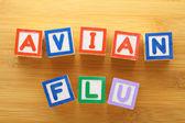 Avian flu toy block — Stock Photo