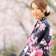 Young girl in japan kimino dress — Stock Photo