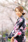 Young girl in japan kimino dress — Foto de Stock
