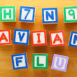 H7N9 bird flu toy block — Stock Photo