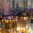 Apartment building at night in Hong Kong - 图库照片