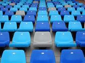 Blue seats at stadium — Stock Photo