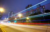Futuristic urban city night traffic — Stockfoto