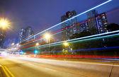 Futuristiska stads stadstrafik natt — Stockfoto
