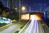 在夜间城市道路 — 图库照片