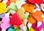 Heap of origami colorful heart — Stock Photo