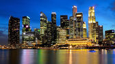 Singapore Marina Bay Business District at night — Stock Photo