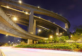 Crossing highway overhead at night — Stock Photo
