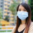 Asian woman wear protective face mask — Stock Photo