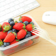 Healthy lunch at office — Stock Photo