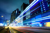 Traffic trail at night in Hong Kong — Stock Photo