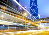 City traffic at night in Hong Kong — Stock Photo