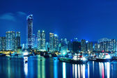Tsuen Wan in Hong Kong at night — Stock Photo