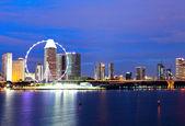 Singapur město v noci — Stock fotografie