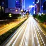 drukke stad verkeer weg bij nacht — Stockfoto #25282375