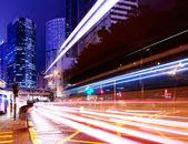 City light trails on traffic road — Stockfoto