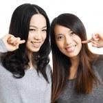 Two asian woman friend smile — Stock Photo
