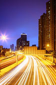 Traffic on highway at night — Stock Photo