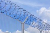 Chain link fence with barbed wire under blue sky — Stock Photo