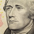 Stock Photo: Alexander Hamilton on US ten dollars bank note close up