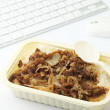 Fast food lunch at office — Stock Photo