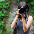 Asian woman taking photo — Stock Photo #27539263