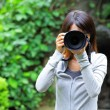 Asian woman taking photo — Stock Photo