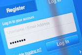 User login account on screen — Stock Photo