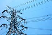 Powerline under blue sky — Stock Photo